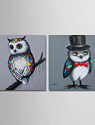 cheap -Hand-Painted Animals Square, Comtemporary Modern Oil Painting Home Decoration Two Panels