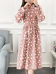 Недорогие -Жен. Хлопок Свободный силуэт Платье - Горошек Контрастных цветов Вырез под горло Средней длины