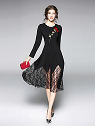 hesapli -Kadın's Dışarı Çıkma Günlük Sokak Şıklığı Çan Elbise - Solid Midi