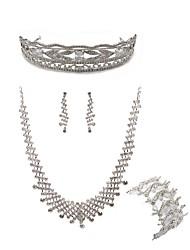 cheap -Women's Rhinestone Imitation Diamond Jewelry Set Body Jewelry / 1 Necklace / 1 Bracelet - Fashion / European White Tiaras / Bridal