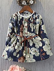 cheap -Girl's Daily Floral Dress,Cotton Spring Fall Long Sleeves Casual Navy Blue