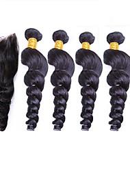 cheap -Peruvian Hair Remy Human Hair Loose Wave Human Hair Weaves Natural Color Hair Weaves