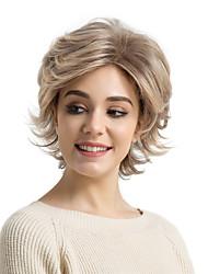 Недорогие -Искусственные волосы парики Естественные волны Боковая часть Стрижка под мальчика С чёлкой Без шапочки-основы Парик из натуральных волос