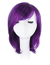 cheap -Synthetic Wig Wavy Bob Haircut / Pixie Cut / With Bangs Synthetic Hair Natural Hairline / Side Part / African American Wig Purple Wig Capless