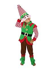 baratos -Ternos de Papai Noel Elfo Chapéu de natal Vestido de Natal Crianças Natal Festival / Celebração Trajes da Noite das Bruxas Verde Natal