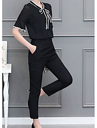 cheap -Women's Blouse - Solid Colored Pant V Neck