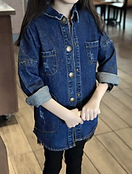 cheap -Girls' Daily Solid Trench Coat, Cotton Casual Blue