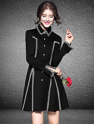 cheap -Women's Daily Casual A Line Dress,Solid Shirt Collar Above Knee Long Sleeve Polyester Fall High Waist Inelastic Thin