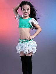 cheap -Belly Dance Outfits Performance Cotton Modal Lace Lace Ruffles Short Sleeve Dropped Skirts Top