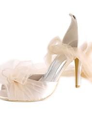 preiswerte -Damen Schuhe Seide Frühling Sommer Pumps Hochzeit Schuhe Stöckelabsatz Peep Toe Drapiert für Hochzeit Party & Festivität Champagner