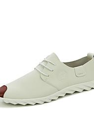 baratos -Homens sapatos Couro Ecológico Primavera Outono Conforto Oxfords para Casual Branco Preto Laranja