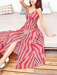baratos -Mulheres Boho balanço Vestido - Fenda, Listrado Decote V Cintura Alta Longo