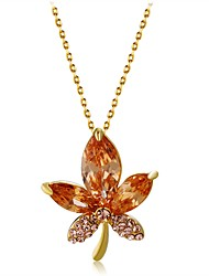 cheap -Women's Crystal / Cubic Zirconia Pendant Necklace  -  Crystal, Zircon, Gold Plated Leaf Classic Yellow Necklace For Party, Prom