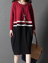 baratos -Mulheres Chique & Moderno Tricô Vestido - Estilo Moderno, Sólido Altura dos Joelhos