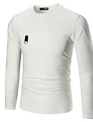 economico -T-shirt Per uomo Tinta unita Rotonda - Cotone