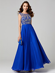 cheap -A-Line Jewel Neck Floor Length Chiffon Lace Prom / Formal Evening Dress with Appliques Pleats by TS Couture®