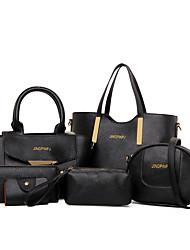 baratos -Mulheres Bolsas Couro Ecológico Conjuntos de saco 6 Pcs Purse Set Lantejoulas para Casual Escritório e Carreira Todas as Estações Branco