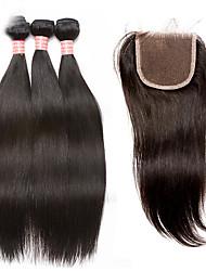 Недорогие -Малазийские волосы Прямой Не подвергавшиеся окрашиванию Волосы Уток с закрытием 4 Связки Ткет человеческих волос Черный / Прямой силуэт