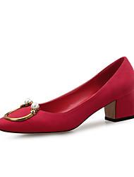preiswerte -Damen Schuhe Beflockung Frühling Herbst Komfort High Heels Blockabsatz Schnalle für Kleid Party & Festivität Schwarz Grau Rot