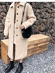 baratos -Mulheres Longo Casaco Diário Para Noite Casual Activo Inverno, Sólido Pêlo Sintético Decote Quadrado