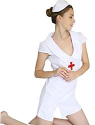 Недорогие -Медсестры Платья Шапки Жен. Фестиваль / праздник Костюмы на Хэллоуин Белый Однотонный Сексуальные платья Секси униформа Секси