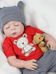 cheap -NPK DOLL Reborn Doll Baby 22 inch Full Body Silicone / Silicone / Vinyl - lifelike, Hand Applied Eyelashes, Tipped and Sealed Nails Kid's