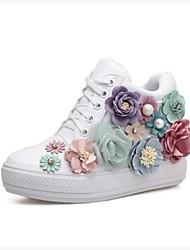 preiswerte -Damen Schuhe PU Frühling Herbst Komfort Sneakers Flacher Absatz Geschlossene Spitze Booties / Stiefeletten für Normal Draussen Weiß