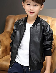 cheap -Boys' Daily Solid Suit & Blazer,PU Long Sleeves Casual Black