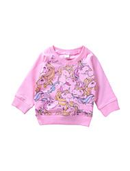 abordables -Tee-shirts Fille Quotidien Motif Animal Coton Modal Printemps Toutes les Saisons Manches Longues Mignon Décontracté Rose Claire
