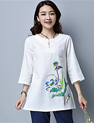 cheap -Women's Vintage T-shirt - Embroidery Round Neck