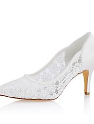 preiswerte -Damen Schuhe Stretch - Satin Frühling Sommer Pumps Hochzeit Schuhe Stöckelabsatz Spitze Zehe für Hochzeit Party & Festivität Elfenbein