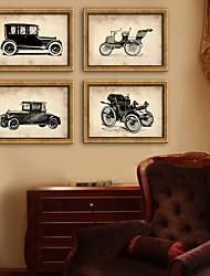 baratos -Vintage Floral/Botânico Ilustração Arte de Parede,PVC Material com frame For Decoração para casa Arte Emoldurada Sala de Estar Quarto