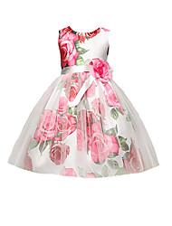 abordables -Robe Fille de Quotidien Sortie Fleur Coton Polyester Eté Sans Manches simple Mignon Actif Rouge