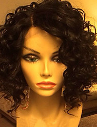 cheap -Human Hair Lace Front Wig / Glueless Lace Front Wig Brazilian Hair Water Wave Bob Haircut 130% Density With Baby Hair / Natural Hairline / Side Part Short Human Hair Lace Wig
