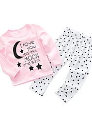 Недорогие -малыш Девочки Простой / На каждый день Повседневные Буквы Длинный рукав Хлопок Набор одежды Розовый