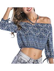 cheap -Women's Cotton Blouse - Floral Halter