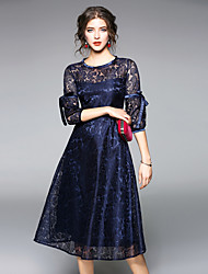 cheap -Women's Going out Vintage Puff Sleeve Sheath / Lace Dress - Patchwork Lace / Mesh High Waist / Fall / Winter