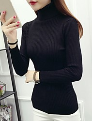 cheap -Women's Long Sleeves Pullover - Solid Colored Turtleneck