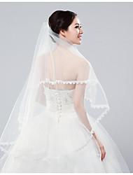 Недорогие -Два слоя Классика Свадебные вуали Фата до кончиков пальцев с Вышивка Тюль / Классическая