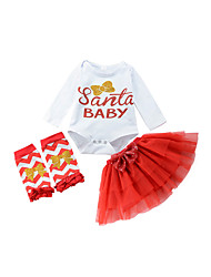 cheap -Girls' Daily Color Block Clothing Set, Cotton Spring Long Sleeves Cute Red