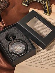 baratos -Casal Relógio Esqueleto / Relógio de Bolso Chinês Gravação Oca / Relógio Casual Lega Banda Luxo / Casual / Caveira Preta