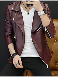 cheap -Men's Sports Leather Jacket - Solid