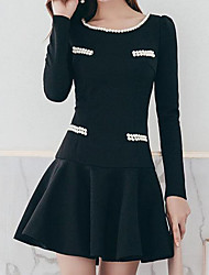 cheap -Women's Daily Casual Trumpet/Mermaid Dress,Solid Round Neck Above Knee Long Sleeve Polyester Fall Mid Rise Micro-elastic Opaque