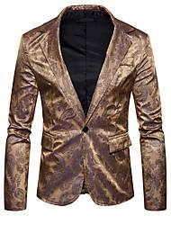 abordables -Hombre Casual Diario Noche Primavera Otoño Regular Blazer, Cuello Camisero Estampado Floral Poliéster