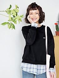 女性用 シンプル 日常 スウェットシャツ ソリッド ラウンドネック 伸縮性なし ポリエステル 長袖 春