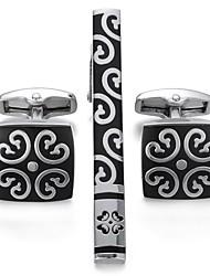 abordables -Forme Géométrique Noir Cufflink Set Plaqué or Mode Cadeau Nouvelle Année Homme Bijoux de fantaisie