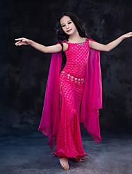 economico -Danza del ventre Vestiti Per bambini Esibizione Seta Di pizzo Fibra di latte Di pizzo Senza maniche Naturale Abiti