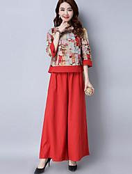 economico -Per donna Stoffe orientali Blusa - Con stampe Pantalone