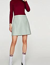 cheap -Women's Mini Bodycon Skirts - Solid Colored