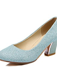 cheap -Women's Shoes Glitter Spring / Fall Comfort Heels High Heel Round Toe Silver / Blue / Almond / Wedding